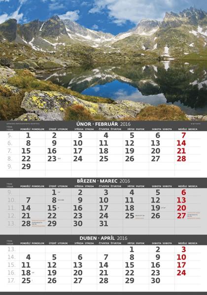Hory - 3měsíční kalendář