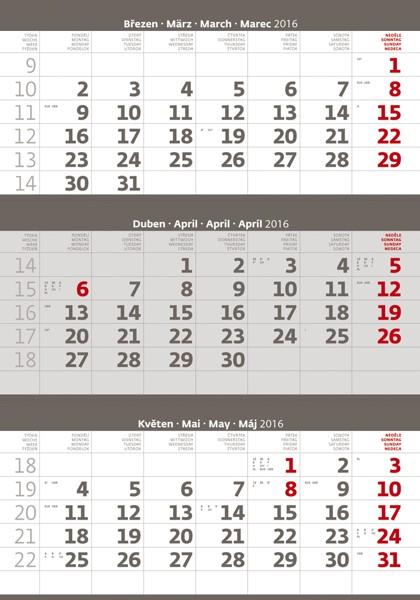 Tříměsíční šedý kalendář