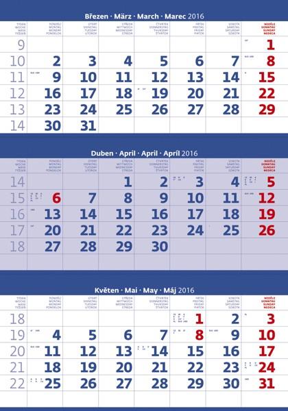 Tříměsíční modrý kalendář