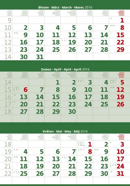 Tříměsíční zelený kalendář