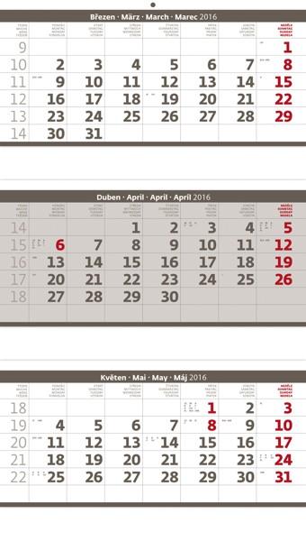 Tříměsíční skládaný šedý kalendář
