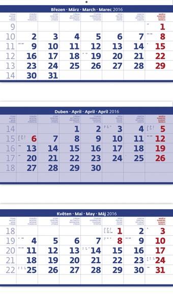 Tříměsíční skládaný modrý kalendář