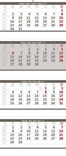 Čtyřměsíční skládaný šedý kalendář