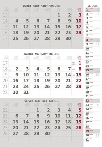 Tříměsíční šedý s poznámkami kalendář