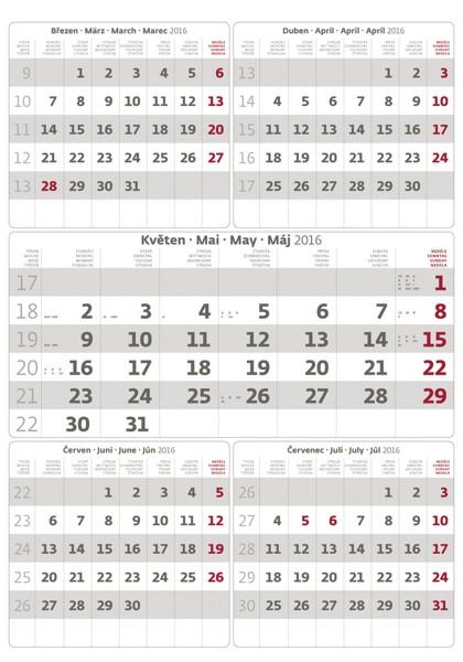 Pětiměsíční kalendář šedý kalendář