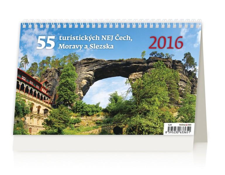 55 turistických NEJ Čech, Moravy a Slezska kalendář